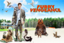 Poster image for the film Furry Vengeance. Illustration with a man being attacked/harassed by various forest dwelling animals and birds.