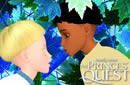 Animated image of a young white boy talking to a young black boy surrounded by leaves