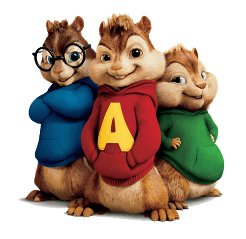 Three smiling animated chipmunks wearing blue, red and green hoodies