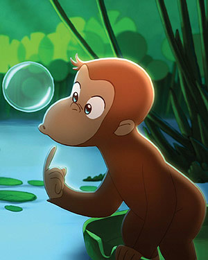 Animated image of a monkey watching a bubble floating in the air by the river