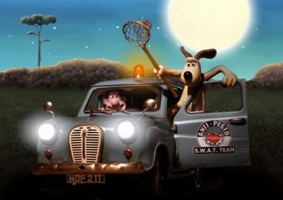 An animated image of a man in a car with his side kick dog holding a fishing net