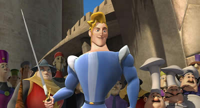 Animated image of a blonde-haired man holding a sword.