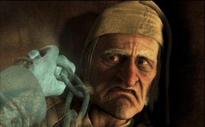 A close up of an old man cowers away from a ghostly hand holding a chain