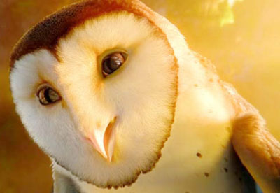 A close-up of an animated owl