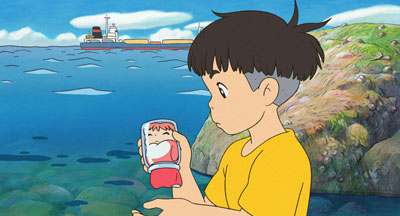 An animated boy stands by the sea holding a jar with a young mermaid inside