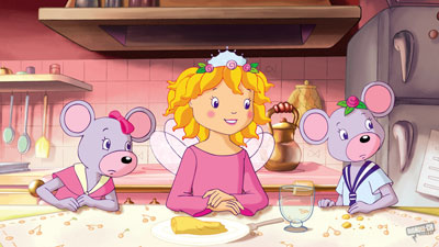 An animated girl sits at a table with two mice dressed in clothes sitting either side