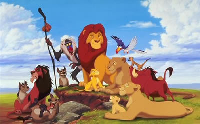 Animated image of a family of lions surrounded by other African animals.