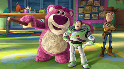 An animated teddy bear and a toy astronaut smile as a toy cowboy stands behind them looking worried