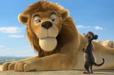 An animated lion looks down at an animated meerkat standing beside him