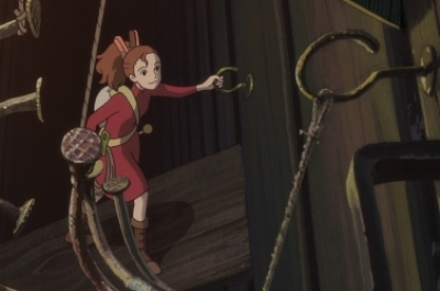 An animated small girl climbs up through the floorboards