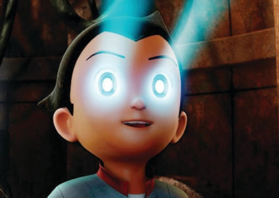 Cartoon boy with a stream of light coming from his eyes