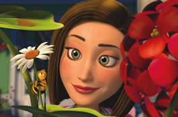 Still of a woman looking at a bee standing on a flower