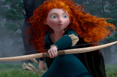 An animated red haired girl crouches on the ground with a bow and arrow
