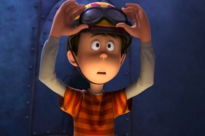 A close up of an animated boy wearing a helmet and goggles