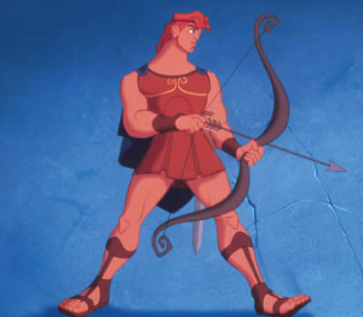 Animated image of man holding a bow and arrow against a blue background.