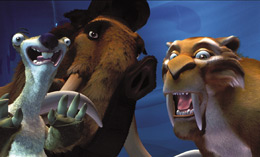 Still of a sloth, mammoth and tiger looking surprised