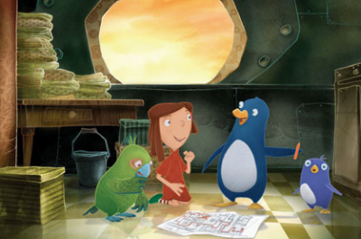 Animated parrot, little girl, penguin and baby penguin consult a map.