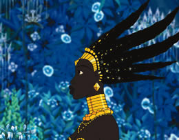 Animated image showing the profile of an African woman wearing a headdress