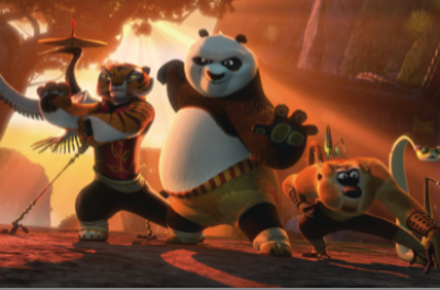 Kung Fu Panda, a tiger and a baboon stand in defence position.