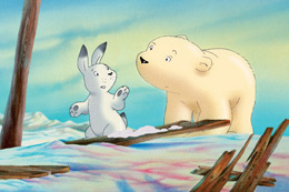 Still image - drawing of baby polar bear and a white rabbit