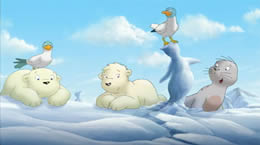 Animated image of two polar bear cubs, two birds and a seal pup in the snow