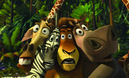 Animated image of a giraffe, zebra, lion and hippo, huddled together, looking surprised