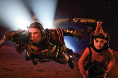 A man floats through space holding a young boy who is floating alongside him