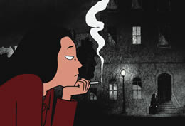 An animated profile image of a girl smoking a cigarette in a dark street