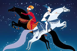 Animated poster image of two young men riding horses that appear to be flying in the night sky