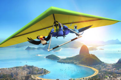 Three animated birds hold onto a hand glider that is flying above Rio de Janeiro