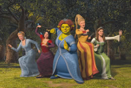 An animated image of a group of women and a female ogre practicing martial arts