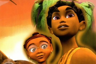 A close up of an animated boy and girl