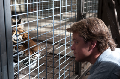 A man kneels down beside a tiger in a cage