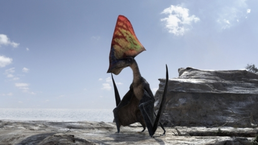 An animated pterosaur sits on a rock