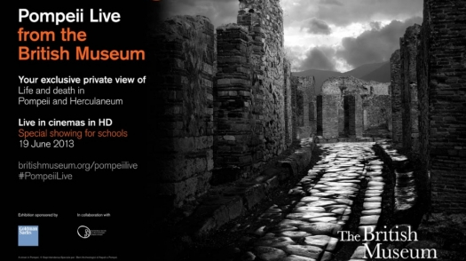 Black and white photo from the Pompeii exhibit
