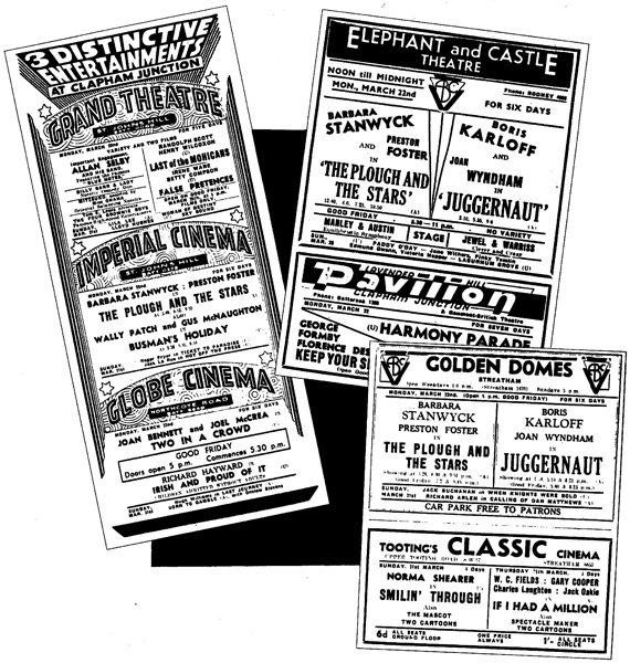 Cinema adverts from 1937