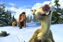 An animated sloth walks through the snow followed by a woolly mammoth and a saber-toothed tiger